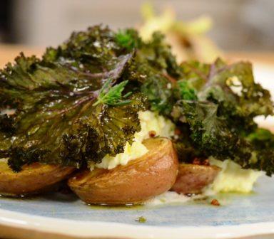 Cartofi noi cu hrisca, burduf&kale
